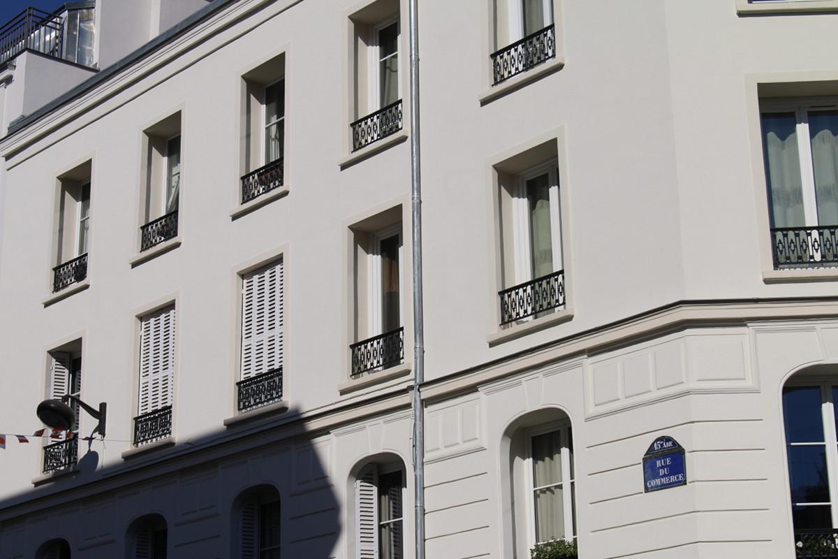 Façade Plâtre et Chaux – 55 rue du commerce 75015 PARIS